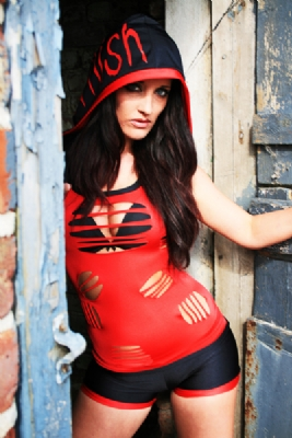 Red/Blk Hooded Vest and Shorts