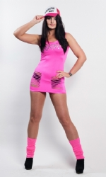Slashed Vest Dress Pink
