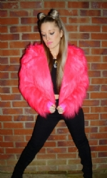 Fur collar lined coat