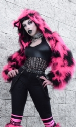 Cat Hood Fur Shrug B/P