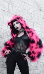 LINED Animal hood fur shrug