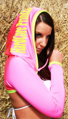 Hooded Shrug Hotpink/Yellow