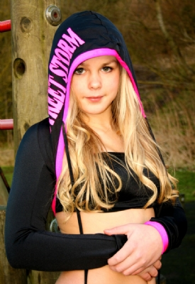 Hooded Shrug Black/Hotpink