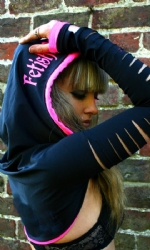 Slashed Hooded Shrug Blk/Pink