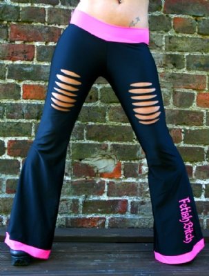Slashed Trousers Blk/Pink