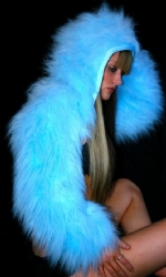 Fur Hood Shrug BabyBlu