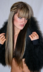 Fur Hood Shrug Black