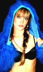 Fur Hood Shrug Blue