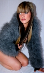 Fur Hood Shrug Grey