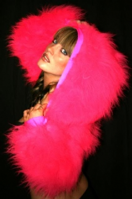 Fur Hood Shrug HotPink