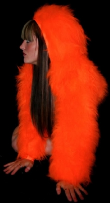 Fur Hood Shrug Orange