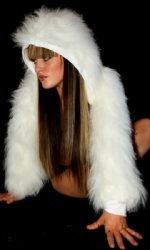 Fur Hood Shrug White