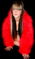 Fur Hood Shrug Red