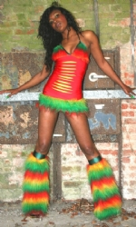 Oolala Slashed 2pc Rasta/Red